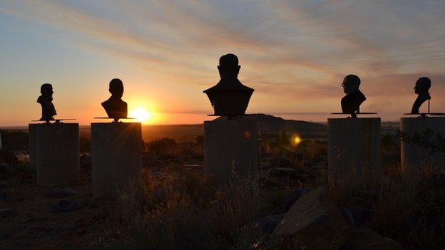 Bust of former apartheid leaders overlooking Orania