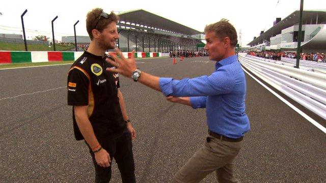 Romain Grosjean and David Coulthard