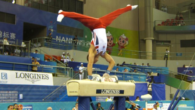 British gymnast Dan Keatings on the pommel horse at the World Artistic Gymnastics Championships