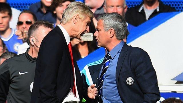 Arsenal manager Arsene Wenger clashes with Chelsea boss Jose Mourinho