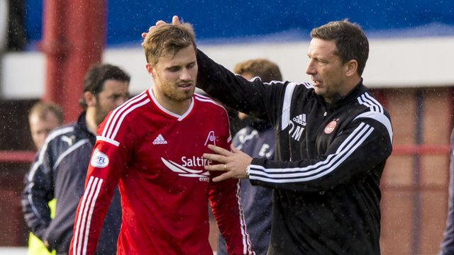 Aberdeen match-winner David Goodwillie and manager Derek McInnes