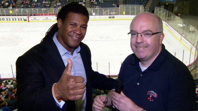Former NFL player Cecil Martin with BBC Sport NI's Nigel Ringland