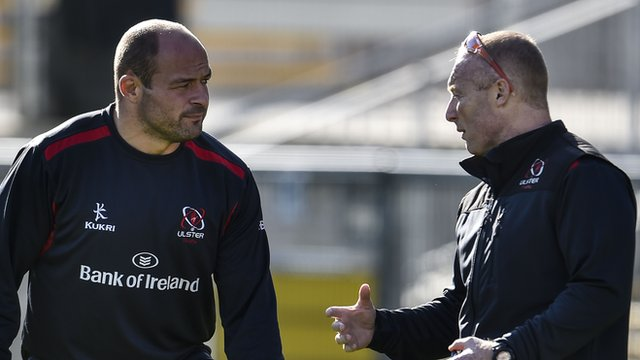 Ulster Rugby Captain Rory Best with backs coach Neil Doak