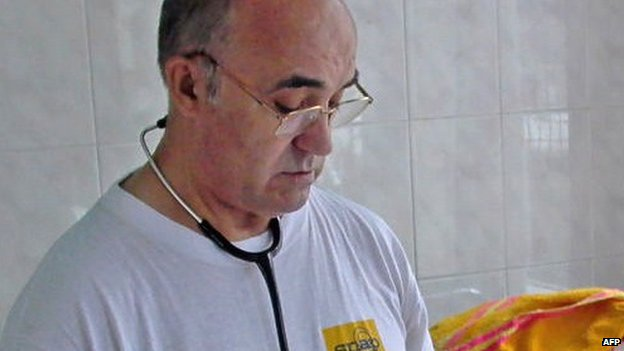 File photo of Manuel Garcia Viejo at San Juan de Dios hospital in Lusar, Sierra Leone