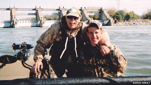 Abdul-Rahman Kassig fishing with his father, Ed Kassig, near the Cannelton Dam on the Ohio River in southern Indiana in 2011