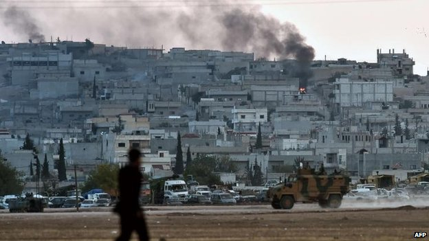 Smoke rises in Kobane, 7 Oct