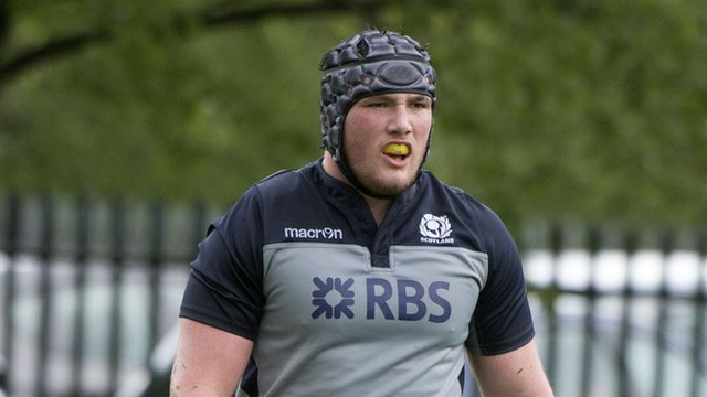 Zander Fagerson in action for Scotland Under-20s