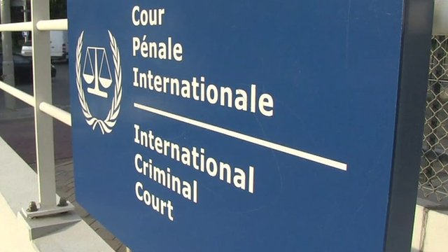 Sign outside ICC, The Hague, file pic