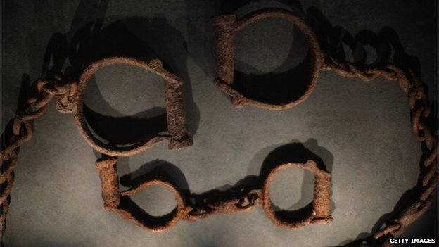 Shackles used to hold slaves