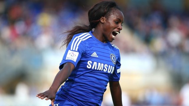 Chelsea's Eniola Aluko celebrates scoring