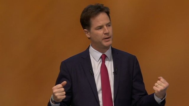 Nick Clegg gives conference speech