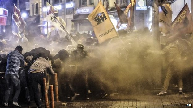 Kurds have protested over Turkey's role, including here in Istanbul, 8 Oct