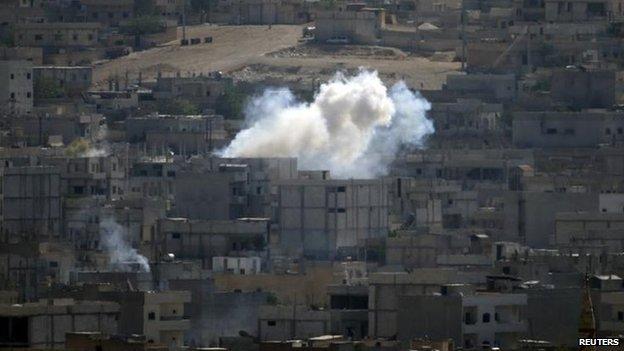 Smoke rises in Kobane, 8 Oct