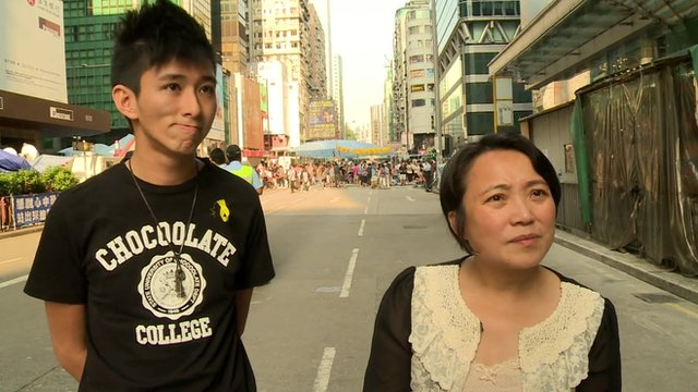 Hong Kong pro-democracy protester, Daniel Wong, and Josephine Chan who does not support the protests