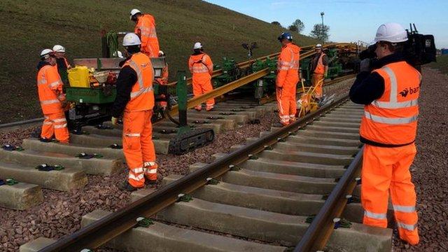 Rail track laying
