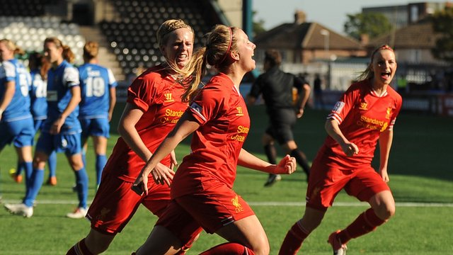 Liverpool's Louise Fors celebrates after scoring the opening goal of the game against Bristol Academy in the 2013 WSL end-of-season decider