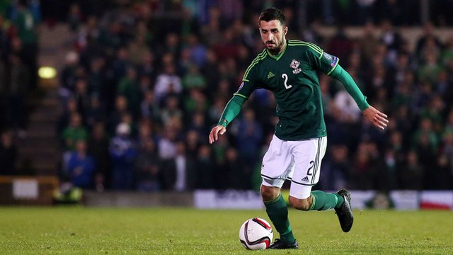 Conor McLaughlin in action for Northern Ireland against the Faroe Islands