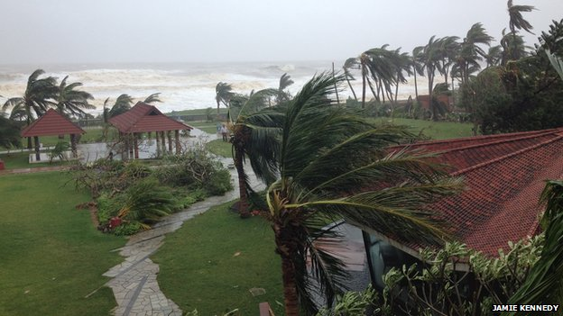 A view from the Park Hotel in Visakhapatnam as the cyclone passed over, 12 Oct