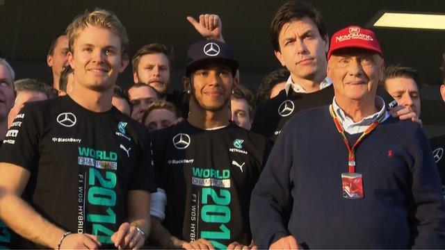 Mercedes' Nico Rosberg, Lewis Hamilton, Toto Wolff and Niki Lauda