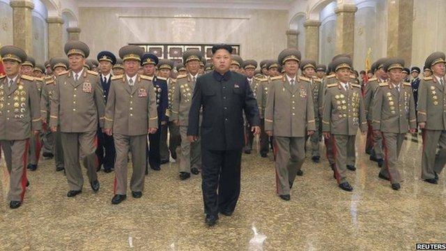 Kim Jong-un and members of the North Korean military