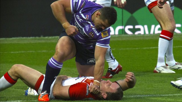 Wigan's Ben Flower punches Lance Hohaia