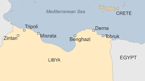 Map showing Tobruk, Tripoli, Benghazi, Derna, Zintan, Misrata and Crete