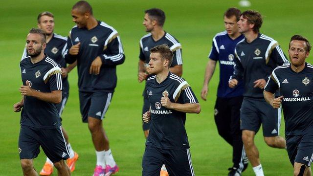 Northern Ireland players train at the Karaiskakis Stadium on Monday