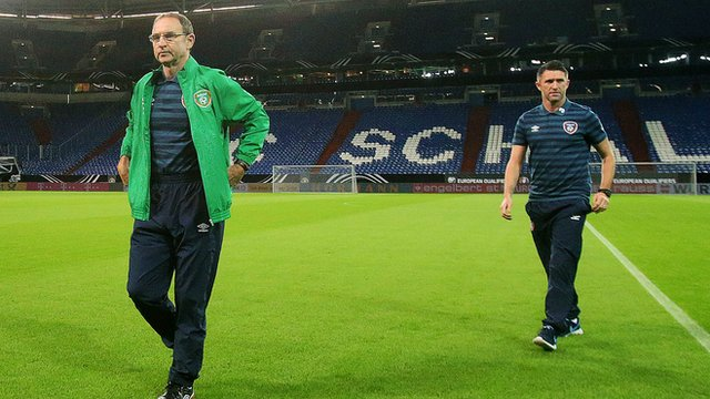 Martin O'Neill and Robbie Keane at Stadion Gelsenkirchen on Monday