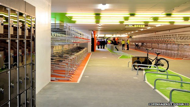 A newly opened underground cycle park in Malmo