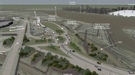 Proposed junction layout on the north side of Silvertown tunnel