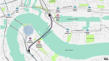 Graphic of Silvertown tunnel alignment