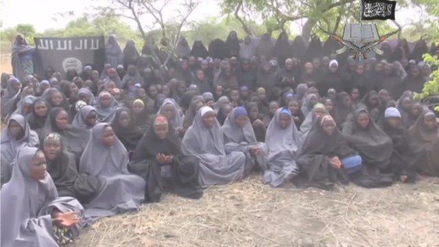 Still from Boko Haram showing abducted schoolgirls