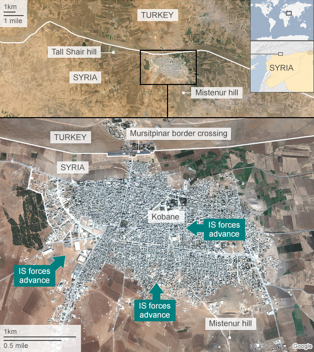 Satellite image of Kobane labelled to show IS advances