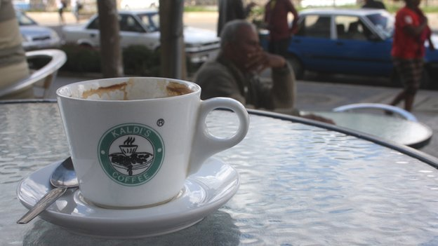 A mug at one of Kaldi's Coffee's Addis Ababa branches