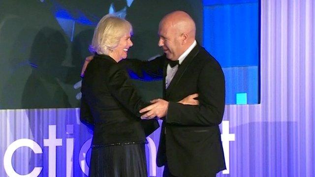 The Duchess of Cornwall congratulates Richard Flanagan