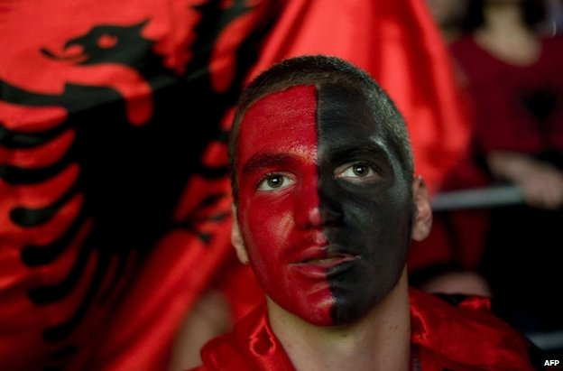 An Albania supporter in Pristina, Kosovo, 14 October