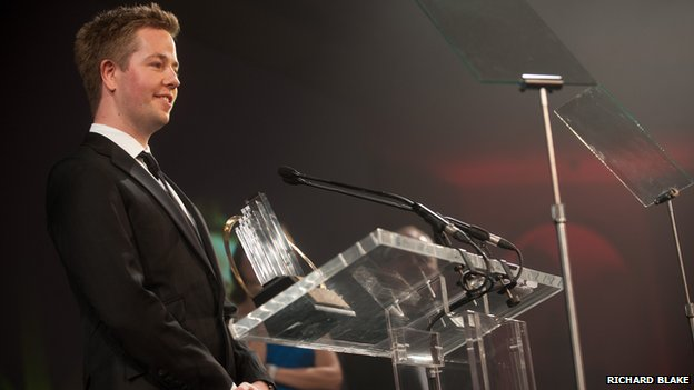 Mark Pearson picking up his award for Ernst & Young young entrepreneur of the year 2011