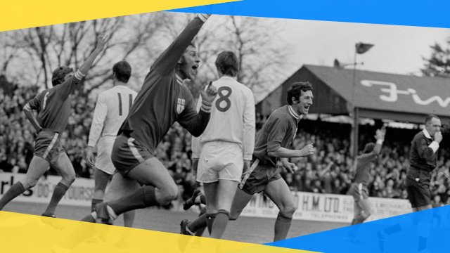 Colchester's Ray Crawford celebrates his goal against Leeds in the FA Cup
