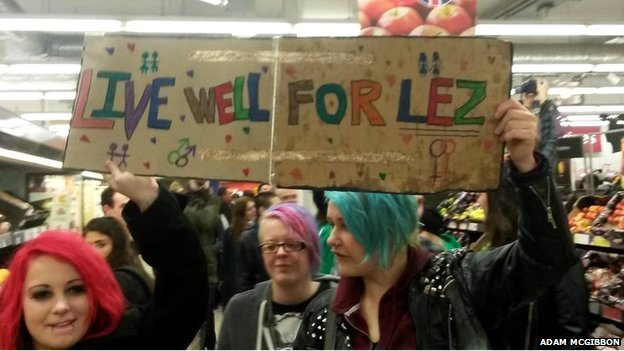 Protesters inside the Sainsbury's store