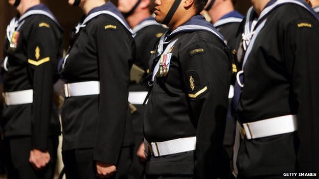 Navy officers from HMAS Sydney stand guard during a national memorial service of thanksgiving and remembrance for those lost in HMAS Sydney II at St Andrew's Cathedral in Sydney Square on 24 April 2008 in Sydney, Australia