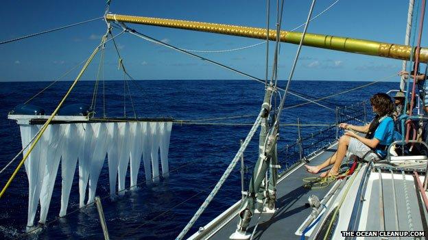 Boyan Slat testing out equipment at sea