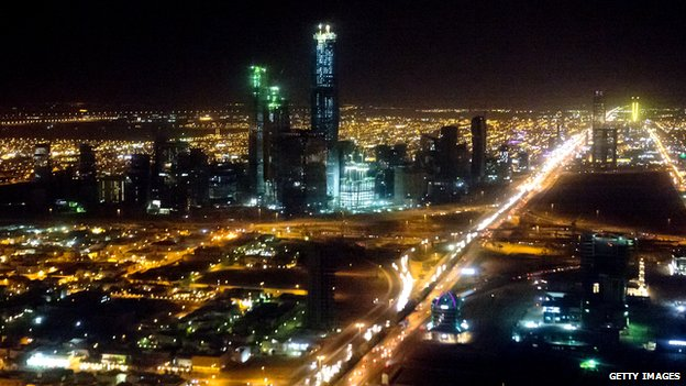 The skyline of Riyadh, Saudi Arabia