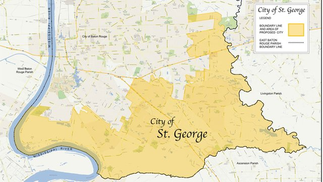 A map of the proposed city of St George