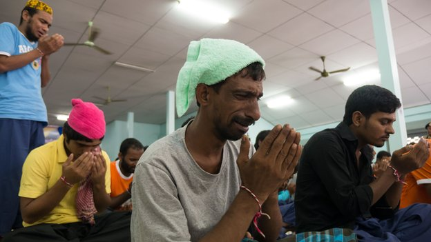 Ayub, a Bangladeshi human trafficking victim on October 2014