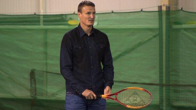 Stoke City's Robert Huth playing tennis