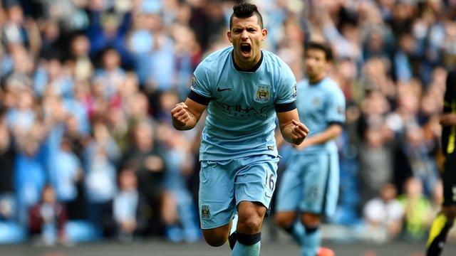 Manchester City's Sergio Aguero celebrates against Tottenham