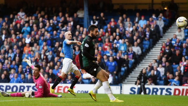 Nicky Law scores for Rangers against Raith Rovers