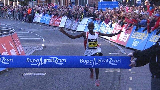Joel Kimutai wins the men's elite race at the Great Birmingham Run
