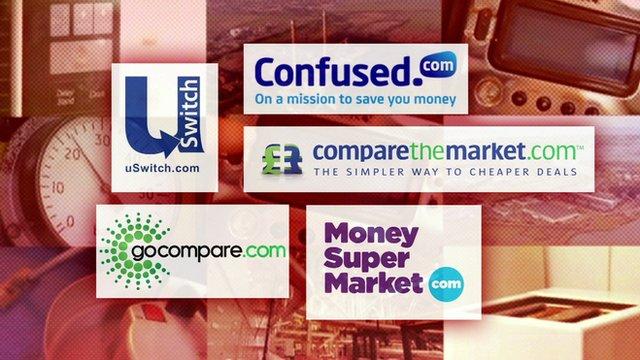 Graphic of five of the UK's biggest price comparison sites