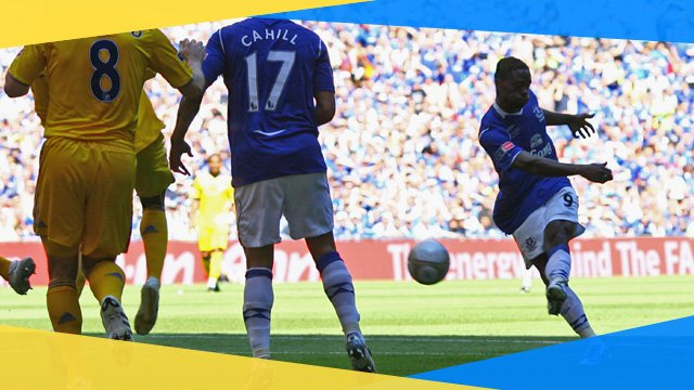 Everton's Louis Saha scores against Chelsea in the 2010 FA Cup final